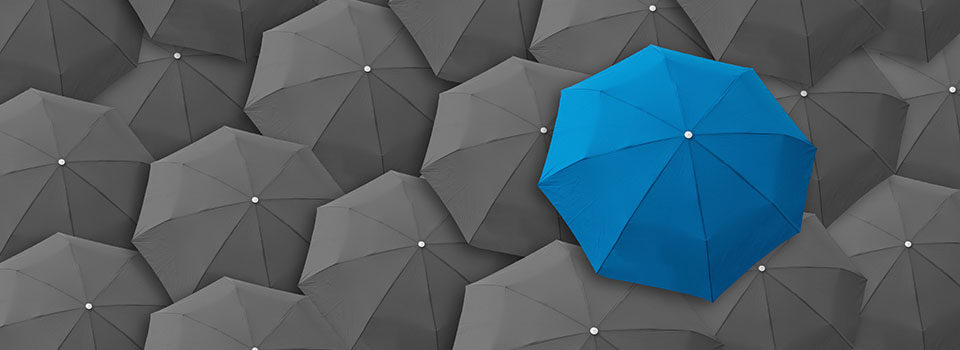 Accessible Website Services Blue umbrella grey umbrellas