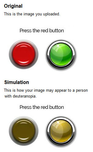 Image of how people with deuteranopia view red and green buttons
