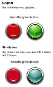 Image that depicts how a person with tritanopia views red and green buttons on a Web page
