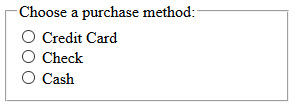 Radio button choices for a purchase