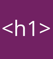 An HTML H1 Tag against a purple background
