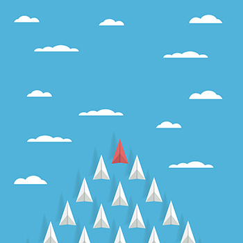 Business leadership concept with red paper plane leading white airplanes above clouds in the sky. Success, winner abstract illustration. Eps10 vector illustration.