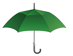 Illustration of green umbrella