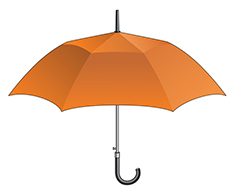 Illustration of orange umbrella