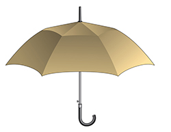 Illustration of tan umbrella