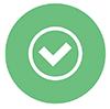 Checkmark Button Icon in Light Green Color