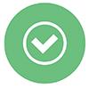 Checkmark Button Icon in Light Green Color