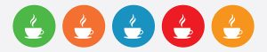 Five hot coffee drink with steam icons