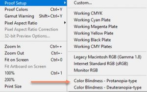 Photoshop menu open to View → Proof Setup to test an image for color blindness