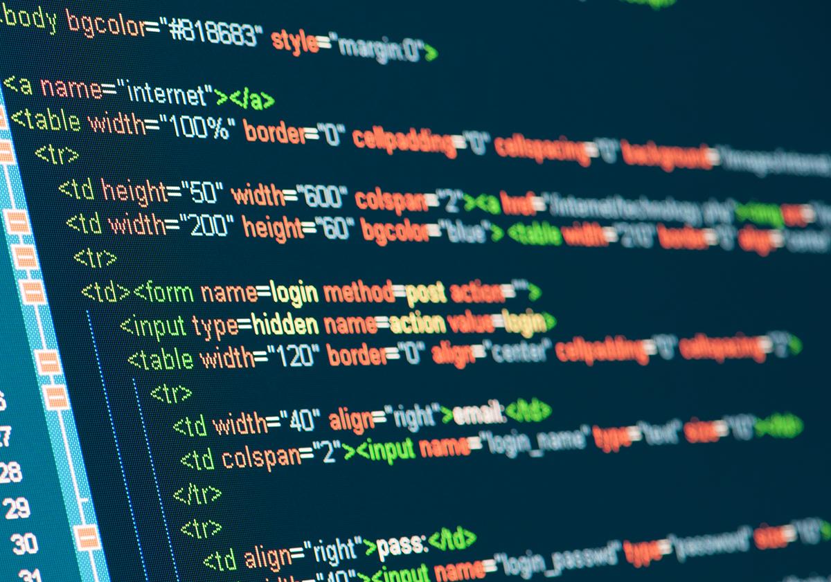 Computer Code HTML on monitor
