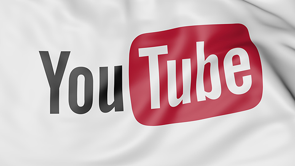 Close-up of waving flag with YouTube logo, editorial 3D rendering United States