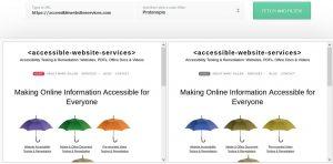 Protanopia color blind comparison test of website home page