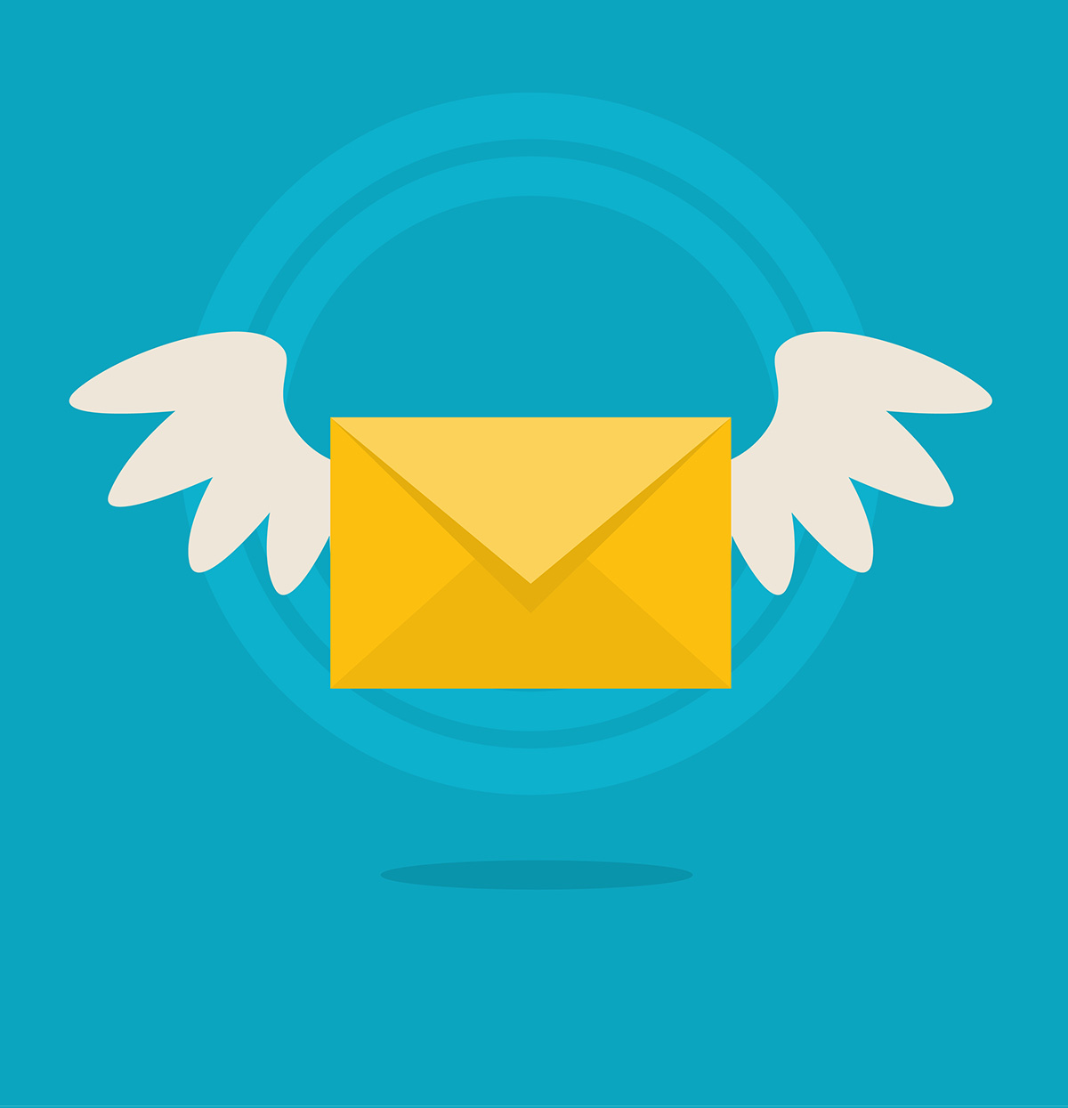 Vector flat colorful icon with fly letter. Email messaging concept
