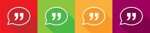 Four color squares each containing a white speech bubble