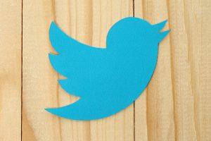 Twitter blue logo on wood background