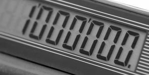 detail shot of a calculator showing one million on itu00b4s display