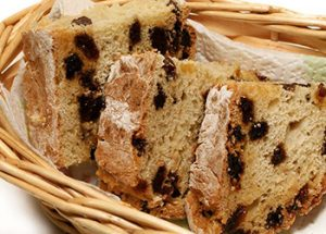 Irish Soda Bread Slices in Wicker Basket