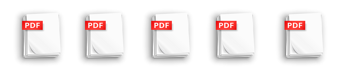 Five PDF icons in a row
