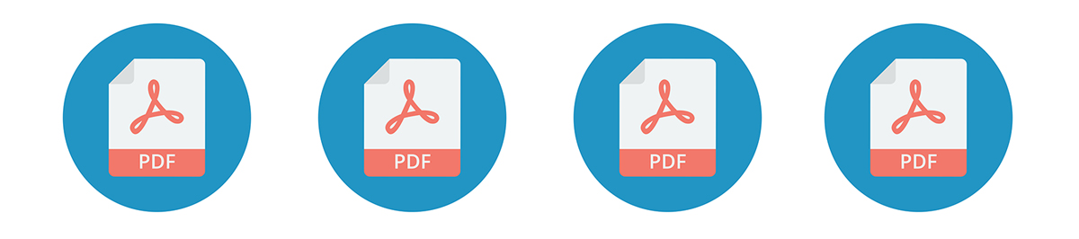 Four Adobe PDF Icons in a row