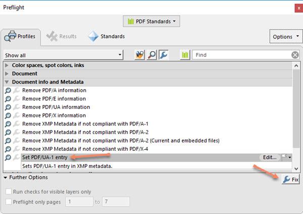 Adobe Acrobat Preflight Set PDF-UA-1