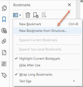 Adobe Acrobat Bookmark Menu