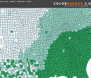 Screenshot of ColorBrewer diagnostic color contrast tool