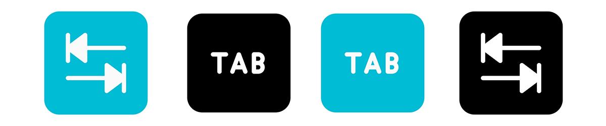 Blue and White Keyboard Tab Key Icons