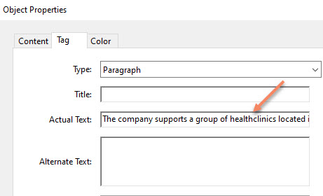 Actual Text field in Object Properties of Adobe Acrobat Pro DC