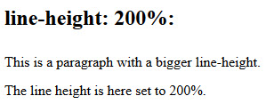Line height example showing text set to a line-height of 200%
