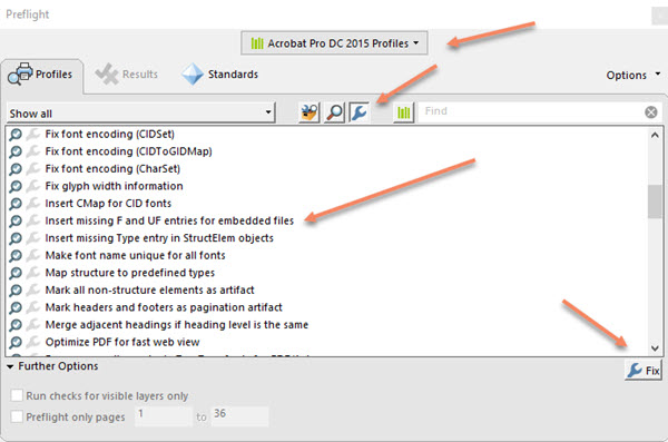 How to correct F or UF key using Preflight Tool in Adobe Acrobat Pro